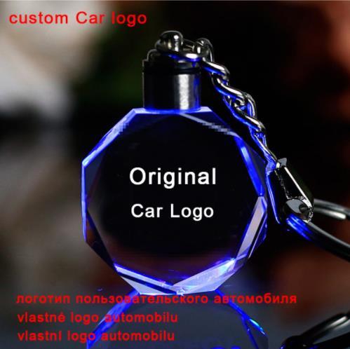 Llavero con Logo de coche con grabado láser, colorido anillo de luz para llave LED, llavero de cristal, accesorios de decoración, colgante de regalo