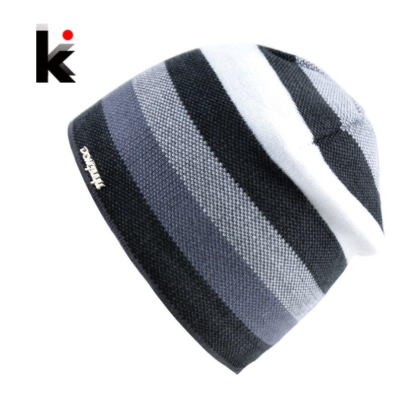 Мужская шапка зимняя шапка бини вязаная шерстяная шапка плюс бархатная шапочка Толстая полосатая Лыжная спортивная шапки для мужчинпка шапки для мужчин
