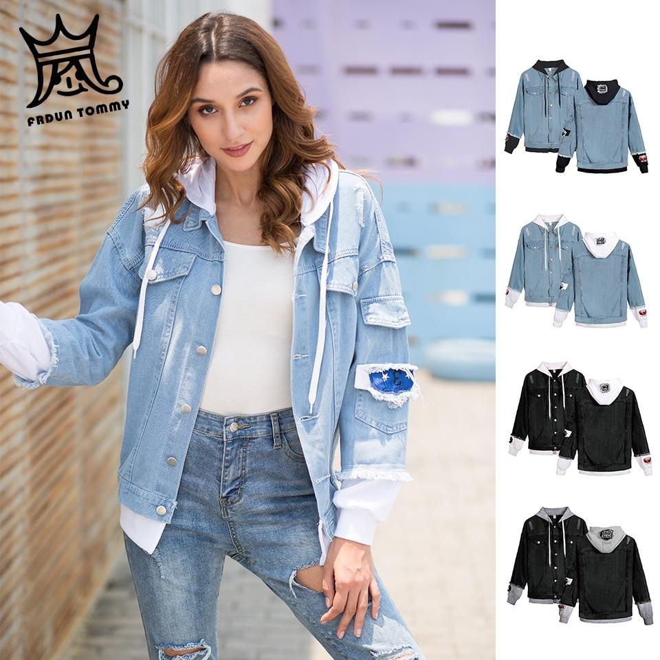 FRDUN TOMMY women denim jacket for girls Bomber Jacket High Quality Cowboy girl Jean Jacket coat Chaqueta Hombre boy clothe