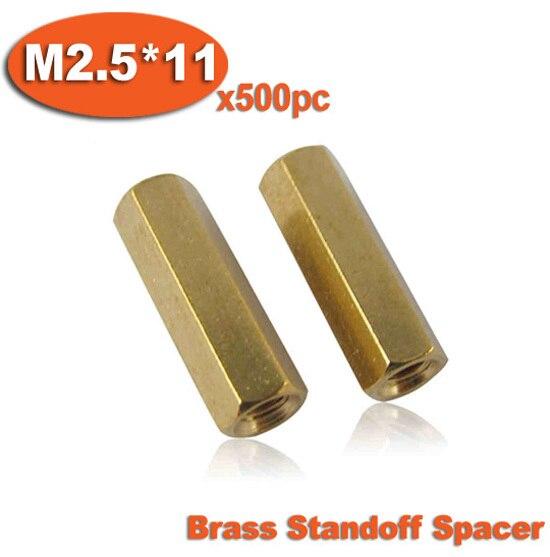 500 piezas M2.5 x 11mm latón hexagonal hembra rosca separador pilares