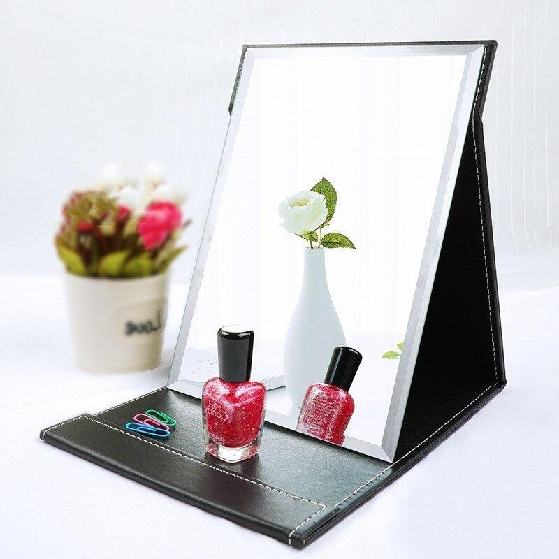 Espejo compacto para maquillaje plegable de cuero para mesa de viaje, espejos plegables, espejo cosmético de belleza, herramientas de maquillaje