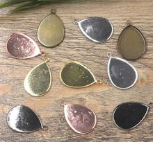 13*18mm 18*25mm Drop Bezel trays with Loop Pendant Settings Resin Cabochons Base Findings DIY Jewelry Earrings Pendant Making