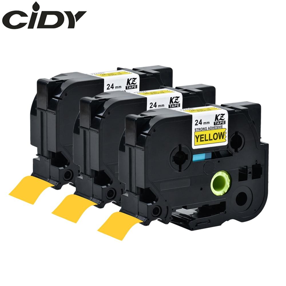 CIDY 3pks TZe S651 TZe-S651 TZ-S651 TZ S651 Strong Adhesive Laminated Ribbon Black on Yellow Tape Cartridge For Brother