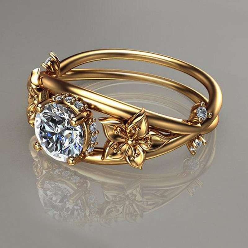 Anillo de diamante de imitación hueco florescente, joyería creativa de flores, ornamento de Color oro Noble, decoración de mujer