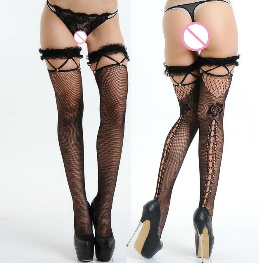 2017 New Sexy black lace bandage Malha Corpo Meias sobre o joelho Nylon Fêmea Meias Sexy Coxa Meias Longas Sexy lingerie