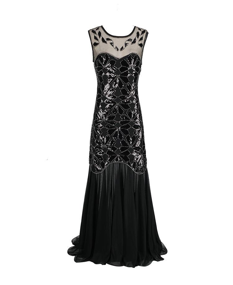 1920 s perles paillettes Gatsby clapet robes longues Vintage femmes robes scintillantes transparent Sexy Chic nouvelles robes de Club