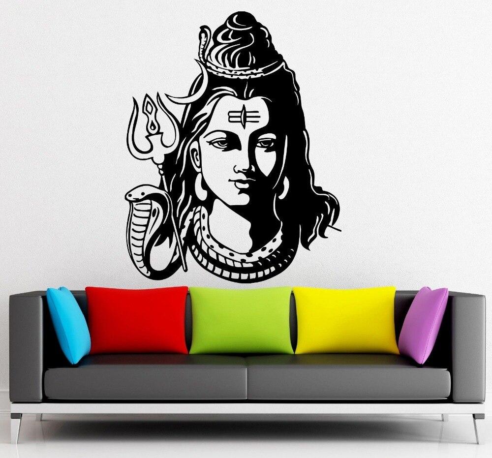 Dios Shiva India Religión Hindú pegatina de pared hogar Decoración de pared calcomanías vinilo papel pintado Mural tamaño 56x70cm Om arte calcomanías D227
