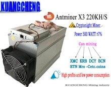 Ancien utilisé seulement 70-80% AntMiner x3 220KH Asic mineur de bitmain x3 avec des puces de hachage cyrptonight mieux que Antminer S9 L3 + S7.