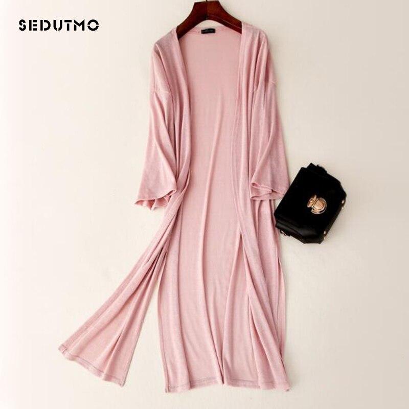 SEDUTMO 2018 Summer Long Kimono Women Blouse Cardigan Knitted White Blouses Autumn Boho Tops Oversize Beach Shirt ED308