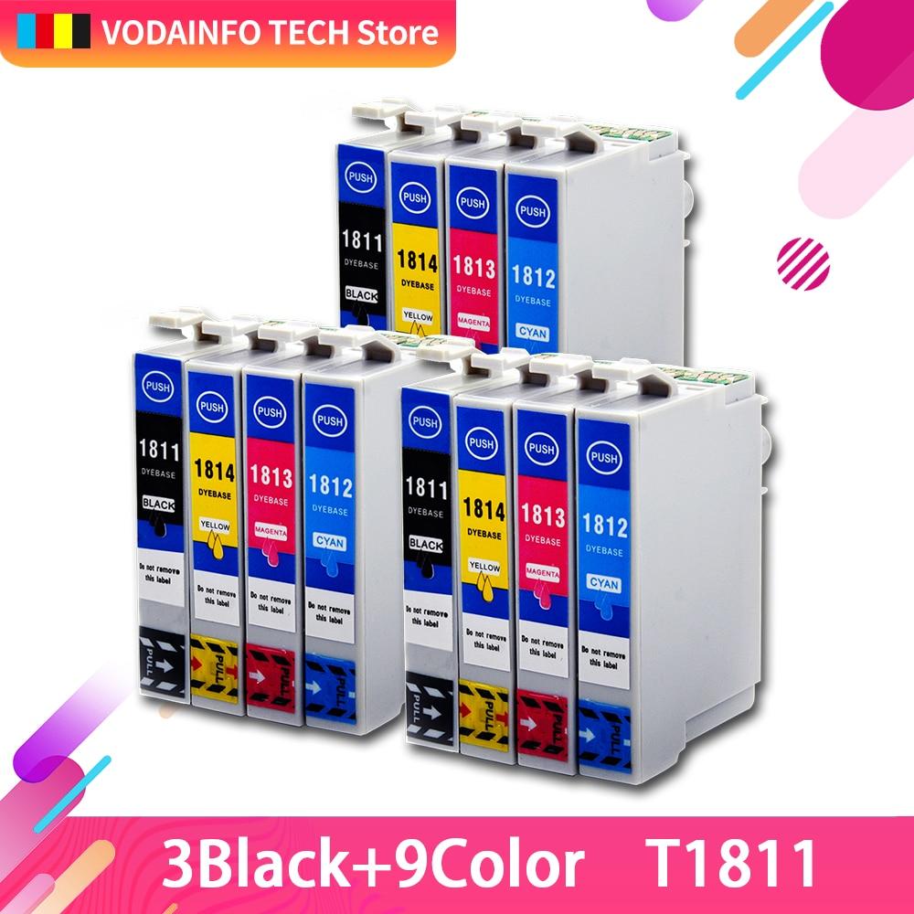 12x XP-102 чернильные картриджи T1811 T1812 T1813 T1814 чип для XP-202 XP-205 XP-30 XP-302 XP-305 XP402 XP405 XP215 XP-312 XP-415