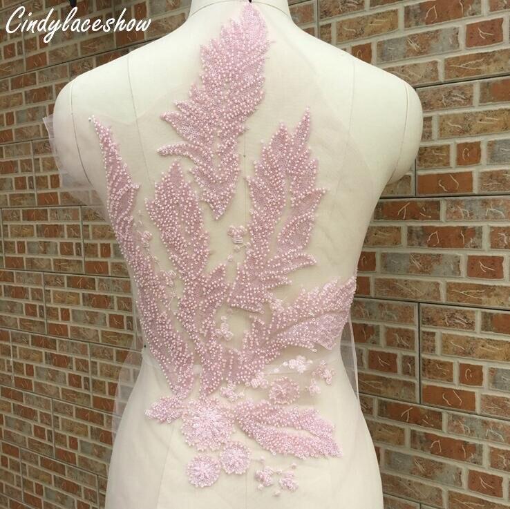 Cindylaceshow recorte de encaje con cuentas apliques de cosido para vestido de novia de noche accesorios de motivos de vestido de novia rosa azul blanco