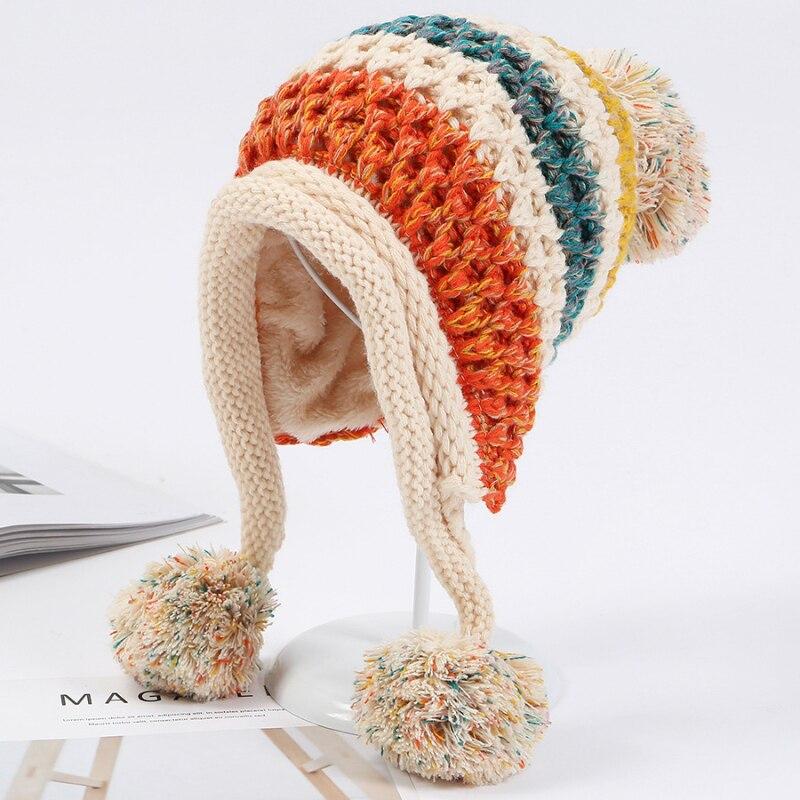 Ht1996 2018 novo inverno chapéus de malha mulheres retalhos pompon bolas earflap bonés senhoras quente grosso inverno gorro feminino