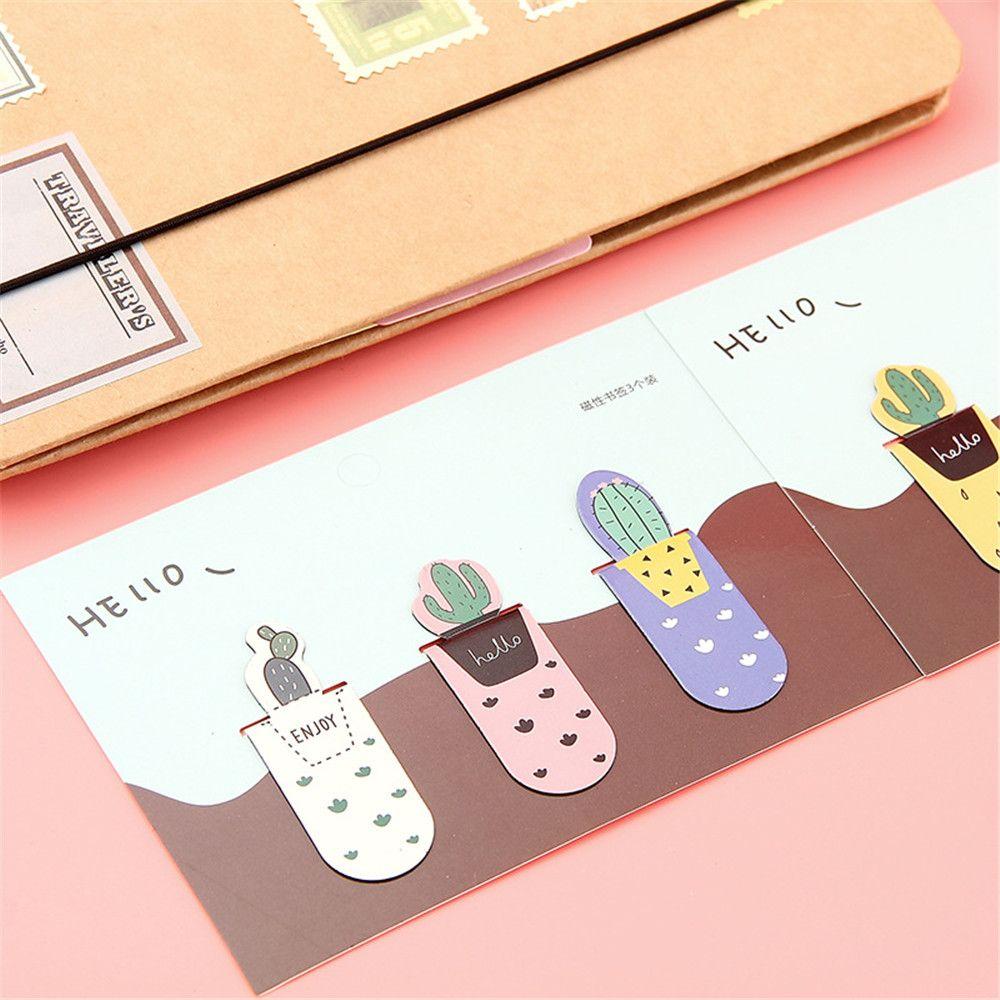 3 uds. Marcapáginas con imán de Cactus bonito Kawaii, marcapáginas de papel, Página de Libro, Clip, suministros escolares de oficina, suministros para arte de papelería