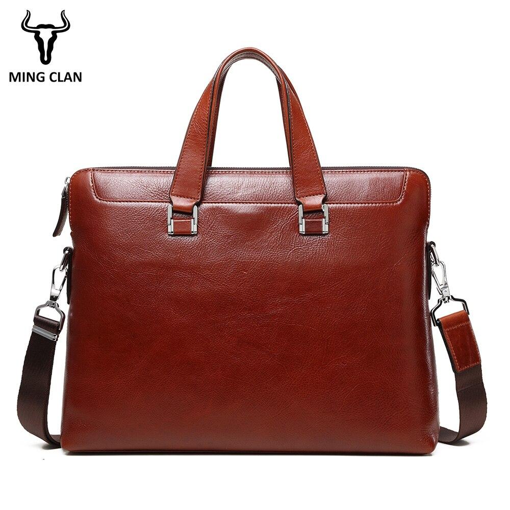 Mingclan Men Leather Briefcase Office Bags Business Laptop Tote Bag Men's Crossbody Shoulder Bag Men's Messenger Travel Bags