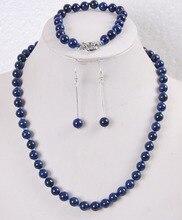 2015 charme femmes offre spéciale 8mm égyptien Lapis Lazuli perles rondes collier bracelet boucles doreilles ensemble bijoux en gros et au détail