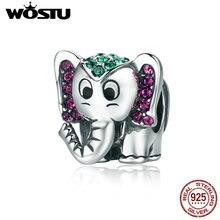 WOSTU offre spéciale 925 en argent Sterling chanceux éléphant animaux perles ajustement Original WST Bracelet à breloques beau bijoux cadeau CQC200