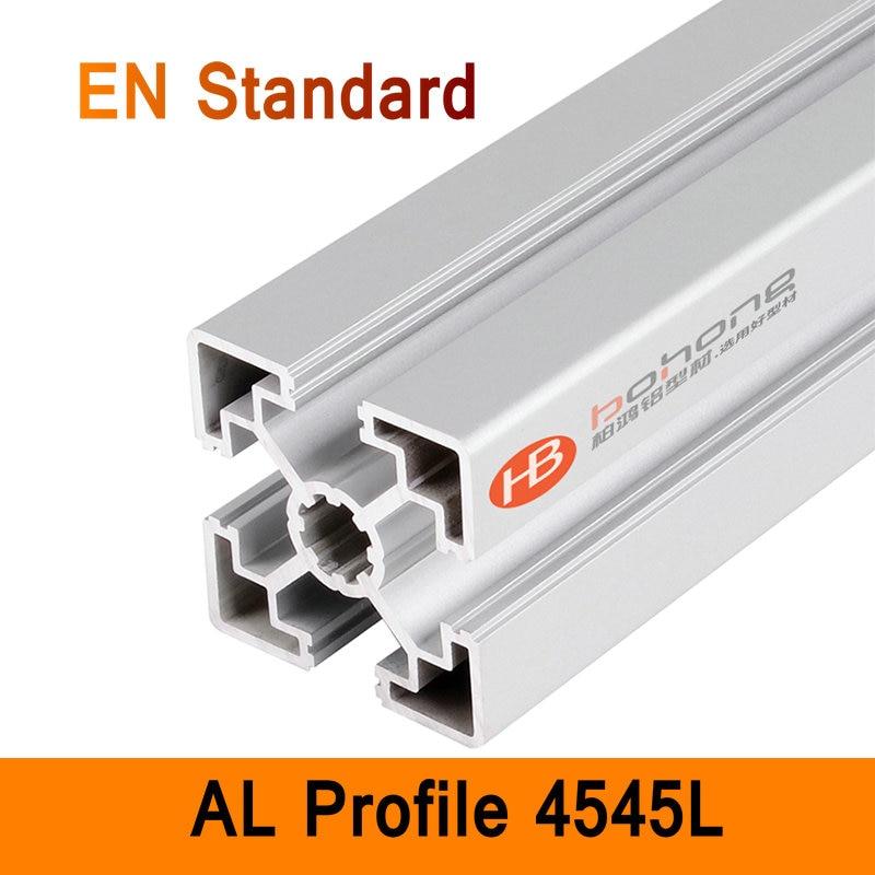 Perfil de aluminio 4545L EN soportes de bricolaje estándar, extrusión de aluminio CNC 3D DIY, piezas de impresora, tubo rectangular de aluminio tipo T
