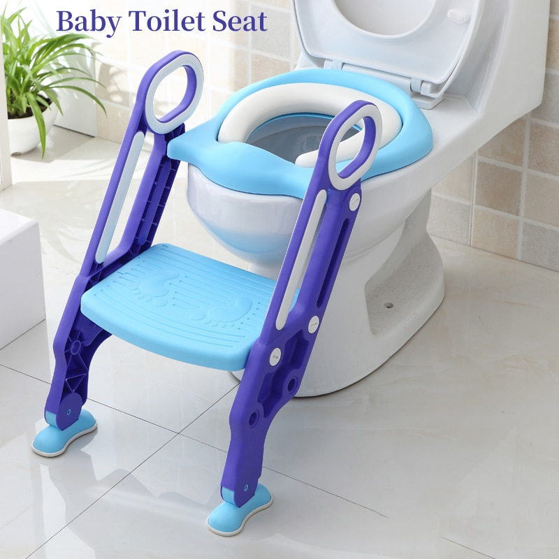 Baby Toilet Seat Folding Toilet Trainer Seat Step Children Potty Seat Kids Toilettes With Adjustable Ladder Child Potty Chair