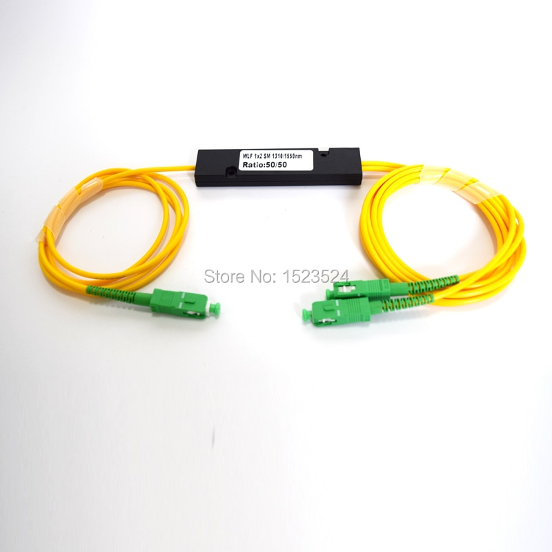 Frete Grátis 1310/1550nm Janela Dupla 50/50 Rácio de SC/APC ABS Caixa Tipo 1x2 FBT Acoplador 1*2 FBT Fibra Óptica Splitter