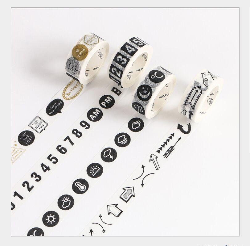 15mm Black white arrows number time plan weather station phrase label washi Tape DIY planner diary scrapbooking masking tape