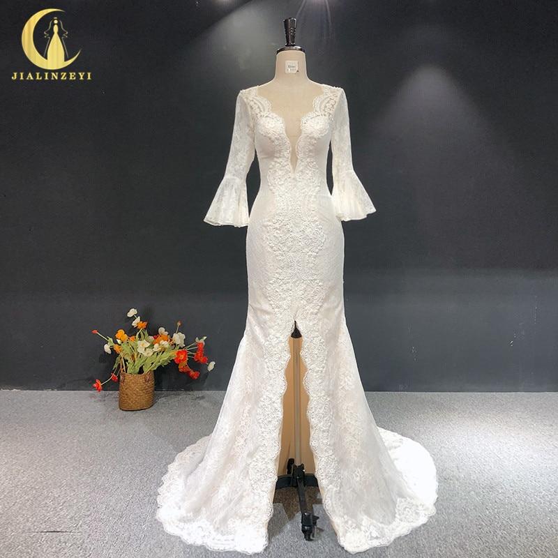 JIALINZEYI Real Amostra Sexy Nude Forro flare sleeve Lace Apliques com contas Vestidos de Noiva de Fenda Do Vestido de Casamento 2019