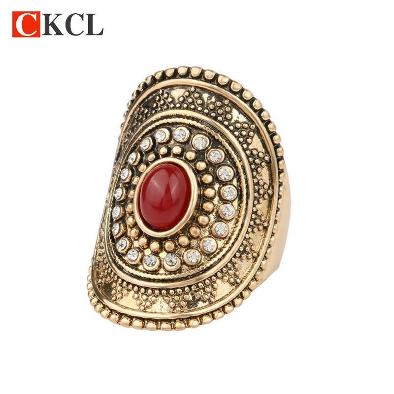 Nova Moda Personalidade Do Vintage Anéis de Ouro Big Oval Anel Midi Declaração Jóia de Cristal Para As Mulheres impulso yezzy 350