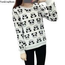New Brand Yan Qing Huan 2018 New Winter Cute Panda Cartoon Print Harajuku Warm Sweater High Quality Soft Flannel Ladies Sweater