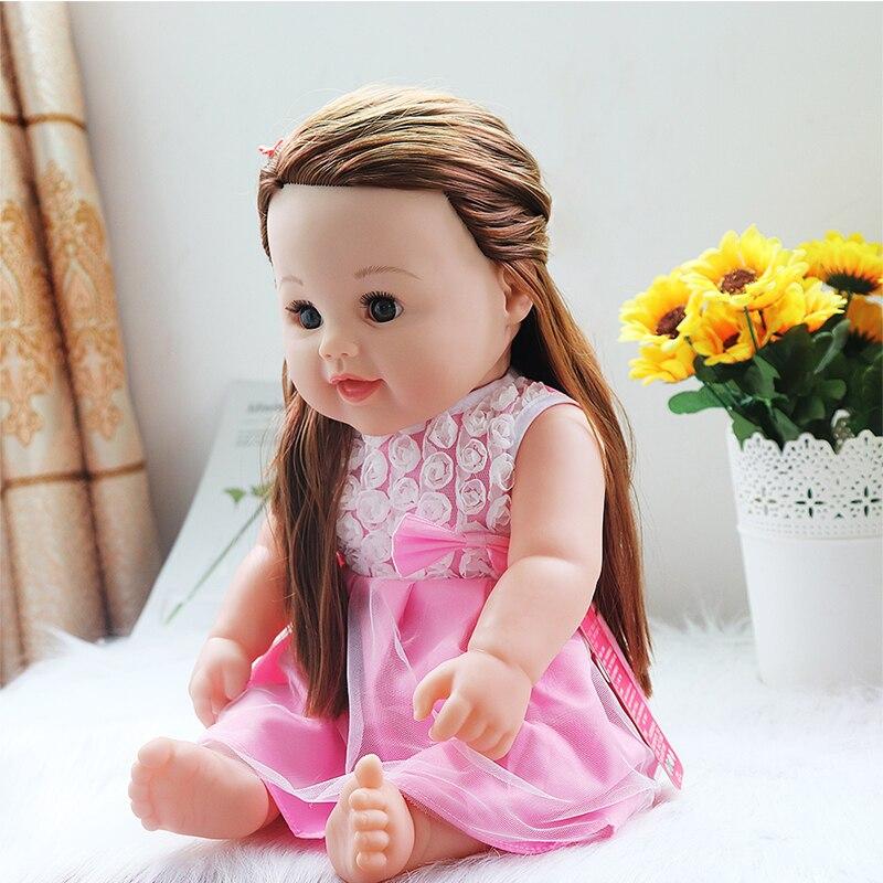 Doll Reborn 45cm Silicone Reborn Baby Doll Adorable Life like Toddler Bonecas Girl Kid Silicone Doll Birthday Gift