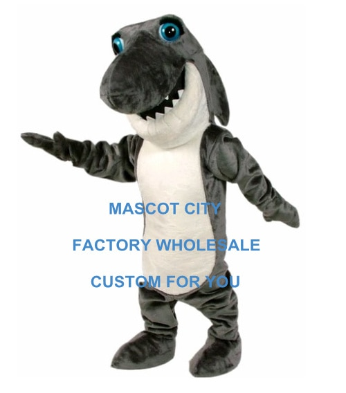 Disfraz de Mascota de tiburón mandíbula gris oscuro para adultos Fierce Sea Animals Mascota traje de disfraz de Mascota SW714