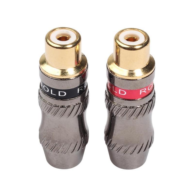 Conector RCA de 2 Uds., conector RCA chapado en oro, conector RCA, adaptador de audio, 1 ud. Anillo rojo, cabeza hembra RCA + 1 ud., cabeza hembra de anillo negro