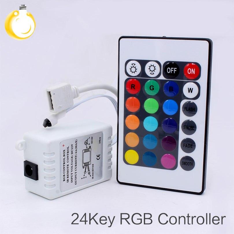 Светодиодный RGB контроллер с 24 клавишами, DC12V, ИК-пульт дистанционного управления для SMD 3528 5050, RGB Светодиодный прожектор