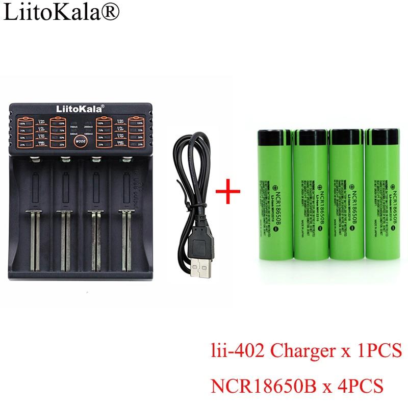 1 шт. Новинка LiitoKala lii-402 1.2В 3.7В 18650 зарядное устройство + 4 шт. NCR18650B 3400 мАч 3,7 в аккумуляторная батарея для фонарика