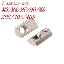 10pcs/lot spring nut M3 M4 M5 M6 M8 T Spring Nut Half Round Elasticity Spring Nut  Block for 2020 3030 4040 Aluminium Profile