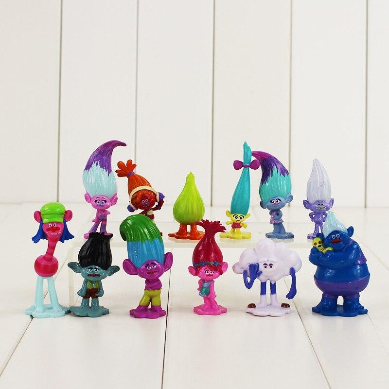 Фигурки троллей, 12 шт./лот, игрушка в виде ветки пока, DJ Suki Biggie Guy Diamond Smidge fuzzber Cloud Guy с длинными волосами, мини-модель кукол