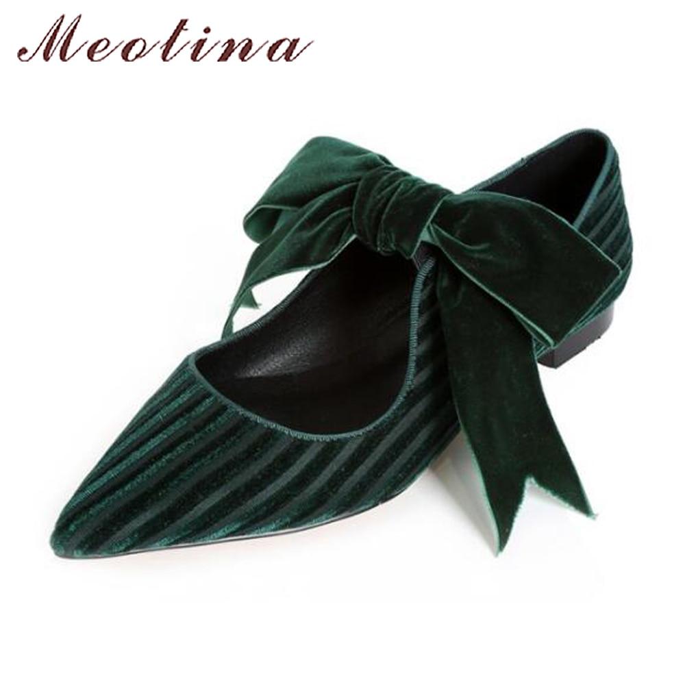 Meotina 2019, zapatos de terciopelo para mujer, zapatos planos de Ballet con lazo, zapatos Mary Jane, punta estrecha, primavera, zapatos planos de mujer, negro, verde