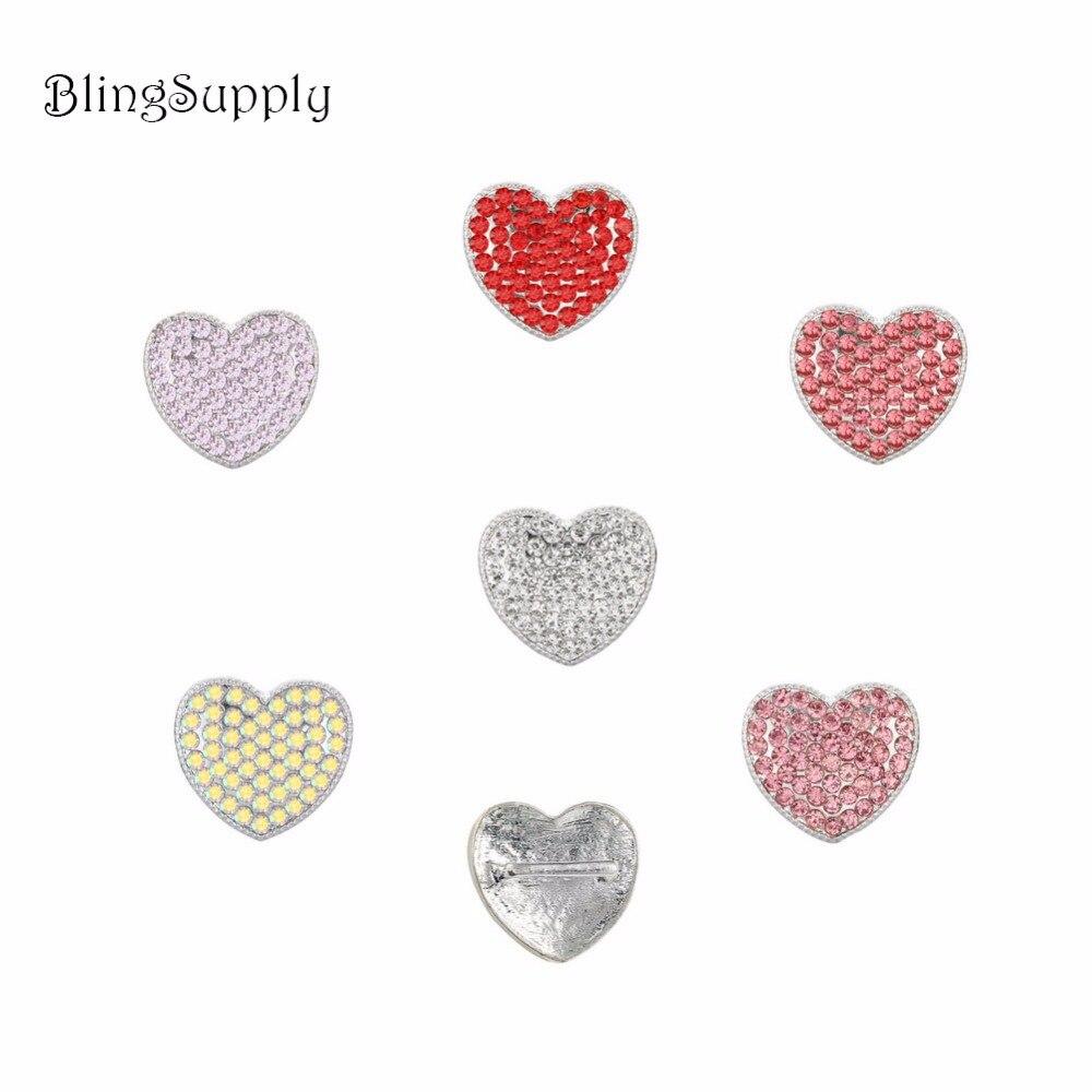 "19X17mm heart rhinestone button with 3/8""slider 100PCS for Valentine Day (BTN-5412)"