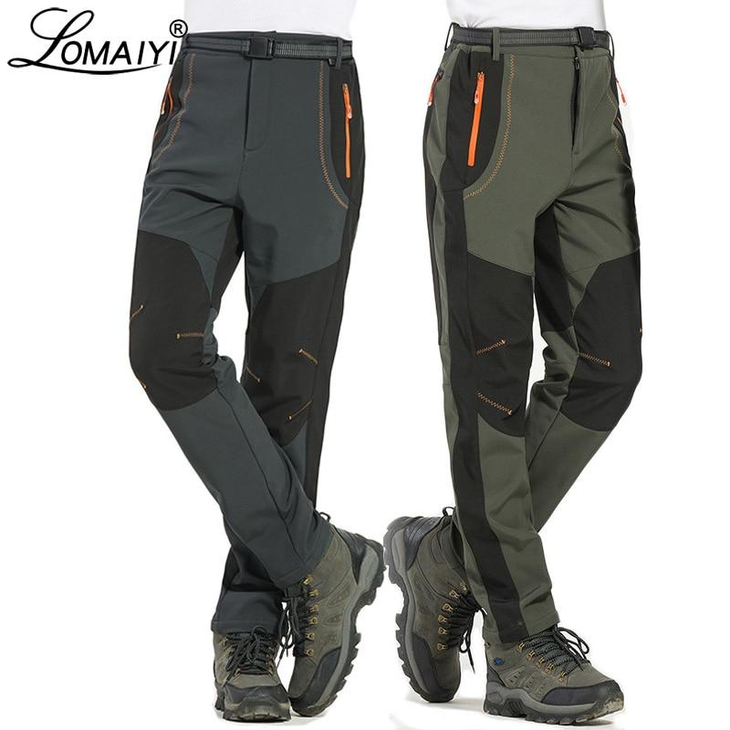 LOMAIYI 5XL Men's Warm Winter Pants Men Fleece Lining Cargo Pants Mens Waterproof Trousers Male Stre