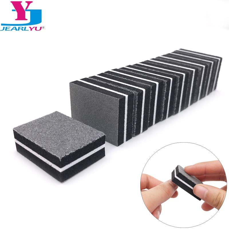 20 pcs Washable Nail Files Buffer Block Sanding Sponge Black Emery Board Sandpaper UV Gel Polish Manicure Tool Accessories Salon