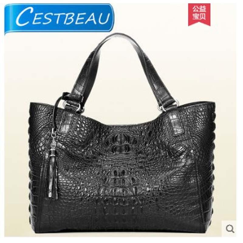 حقيبة جلد التمساح cestbio مع جماجم مزدوجة للنساء حقيبة كتف واحدة للنساء حقيبة يد فاخرة أوروبية وأمريكية