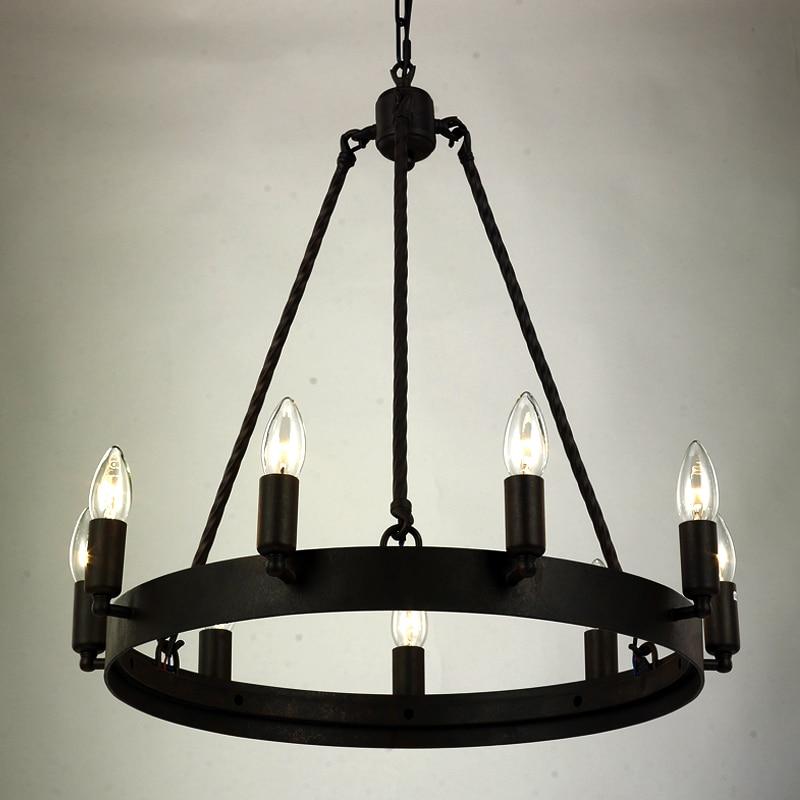Черная винтажная железная люстра, люстры из кованого дерева, люстры для гостиной, спальни, кухни, внутреннего освещения, скандинавские ретро-люстры