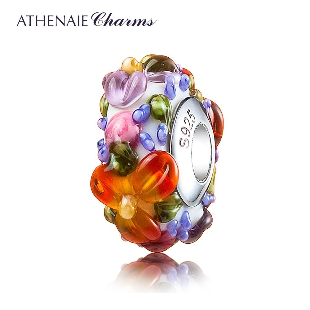 ATHENAIE Murano Glass 925 Silver Core Hawaiian Maui Floral Lei Charm Bead Fit Pandora Bracelet and Necklace Fashion DIY Jewelry