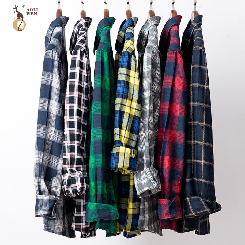Camisa Casual a cuadros de manga larga de AOLIWEN, camisa de algodón de marca para hombre, moda de verano, informal, sizeM-5XL, comodidad de alta calidad