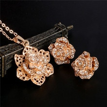 ZOSHI – ensemble de bijoux en cristal doré pour femme, collier avec pendentif en fleur, boucles doreilles, idéal pour un mariage