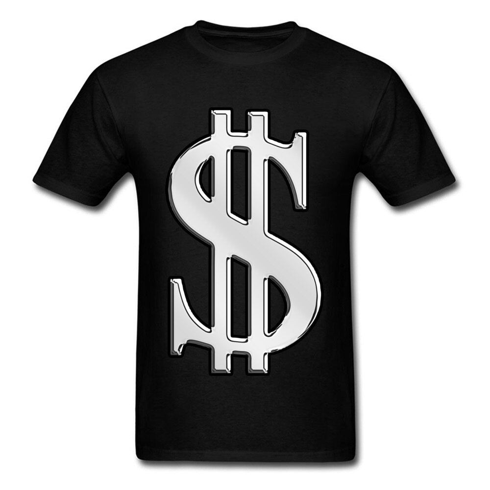 Hipster Streetwear camiseta hombres 3D camiseta dólar en efectivo Sign Tops camisetas de algodón Funky Hip Hop camisetas liso negro