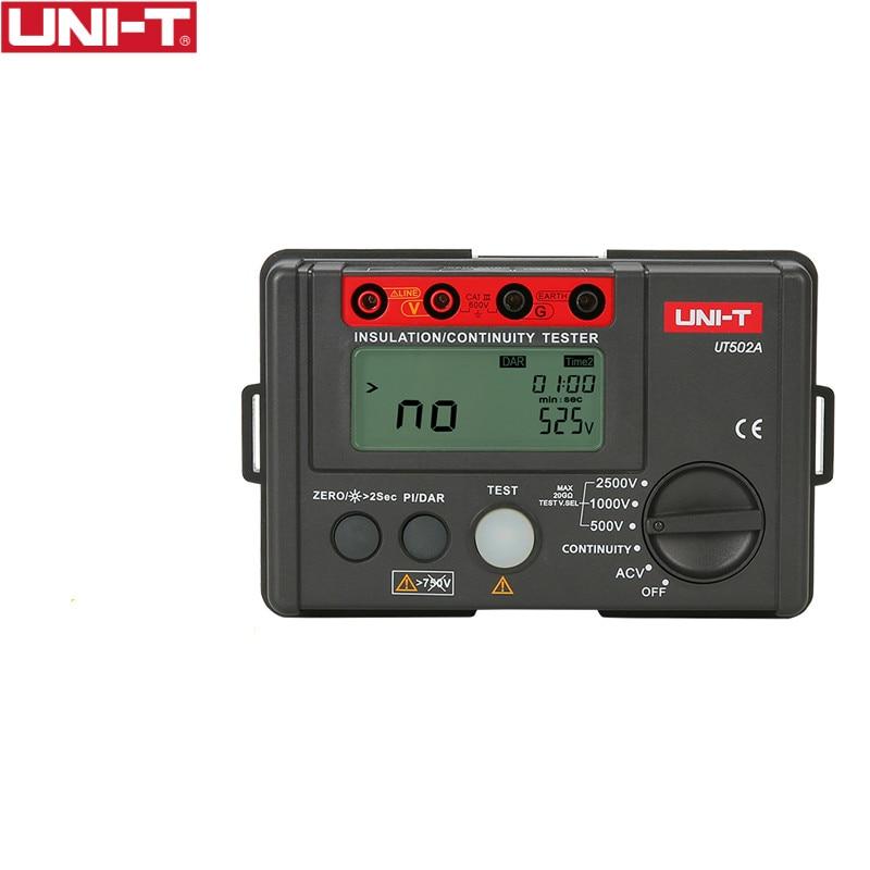 UNI-T UT502A 2500V الرقمية عزل المقاومة متر فاحص Megohmmeter للغاية الفولتميتر الاستمرارية تستر w/LCD الخلفية
