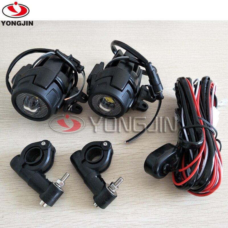 Par de foco de luz de conducción LED auxiliar de 40W con protector para motocicleta R1200GS F800GS K1600