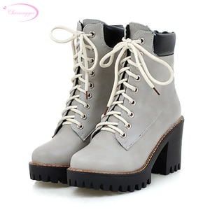 Chainingyee college style ankle boots lace up color matching platform beige yellow gray black high-heeled women's riding boots