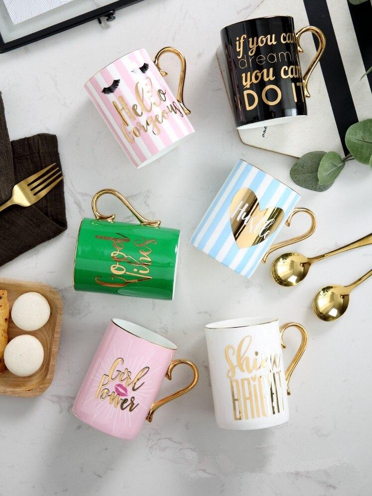 330ml gran oferta Rosa hueso alto China contorno en oro tazas de café moda chica creativa pareja tazas de té con filtro de té caja de regalo