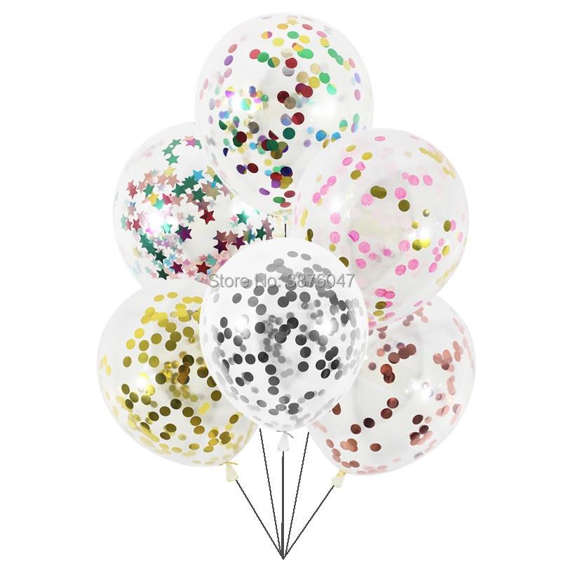 6 unids/lote de globos de confeti transparentes, decoraciones para fiestas de cumpleaños, bodas, Feliz Navidad, Globos de Oro rosa
