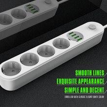 Power Streifen Eu-stecker Wand Mehrere Buchse Tragbare 4 Outlet 4 Usb-anschluss für Handys Smartphones Tabletten Netzwerk filter